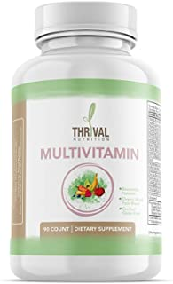 Thrival Nutrition Daily Multivitamin/Multimineral Supplement for Men and Women, Contains Organic Whole Food Blend and Bioavailable Nutrients, Made in USA, 90 Capsules