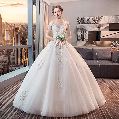 Kleid Hochzeitskleid ein Hochzeitskleid Wort Schulter Hochzeitskleid Rock Zwei Minimalistische Große Yards War Dünn Qi Brautkleid Brautjungfer/Weiß/L, L-F, Weiß, XXL