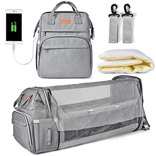Diaper Bag Backpack, Multifunction Large Capacity Diaper Bag with Foldable Baby Bed for Baby Girl Boy Travel Back Pack for Moms Dads with Maternity Changing Mat Bags Gray