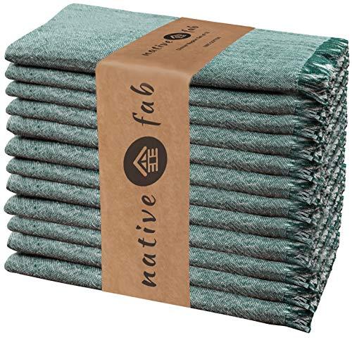 Native Fab 12er-Set Baumwolle Stoffservietten 46x46 cm für Veranstaltungen Hochzeit regelmäßige Heimnutzung, Weich Bequem Maschinenwaschbar Wiederverwendbare Servietten Grün