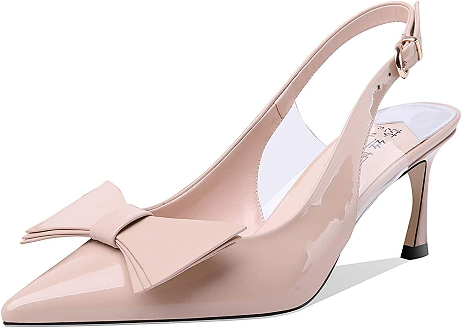 High Heels High Heels Ladies sandals Summer New Stiletto 7cm Leather sandals with Bow shoes not Tired shoes Ladies sandals (color   Beige, Size   39)