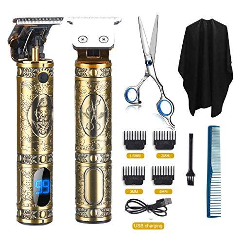 Cortacésped profesional eléctrico inalámbrico, cortapelos para hombre, afeitadora eléctrica, tendedero para barba, trimmer, afeitadora eléctrica para hombre, afeitadora de barba (oro)