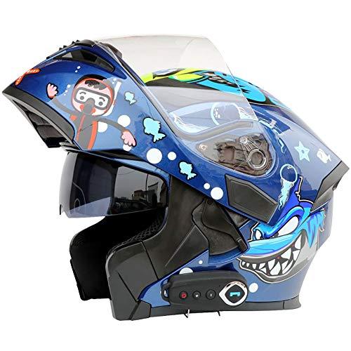 TKer Bluetooth Integrado Casco de Moto Modular de Cara Completa abatible con Doble Visera para Hombres y Mujeres Adultos, Certificación ECE,Azul,M