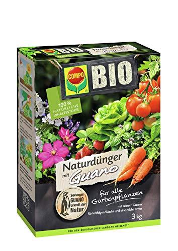 COMPO BIO naturligt gödselmedel med guano för alla trädgårdsväxter, 3 kg