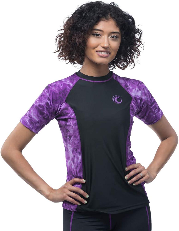 Aqua Design Womens Big Wave Short Sleeve Rash Guard Shirt