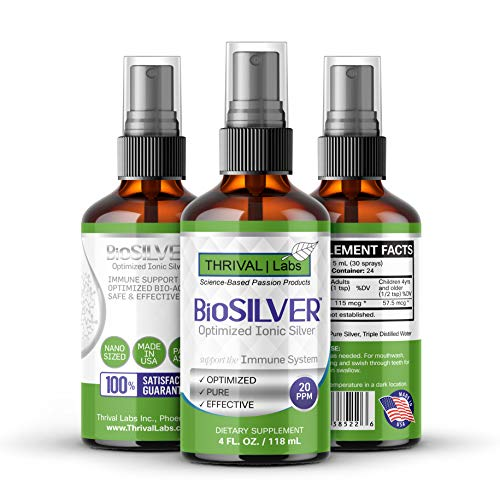 BioSILVER Optimized 20 PPM Bio-Active Ionic Colloidal Silver in Dark Glass Spray Bottle by Thrival Labs | Nano Ions and Particles for Superior Immune Support (4 oz. Spray)