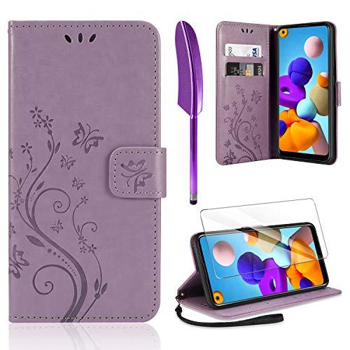 AROYI Lederhülle Kompatibel mit Samsung Galaxy A21s Hülle & Schutzfolie, Flip Wallet Handyhülle PU Leder Tasche Hülle Kartensteckplätzen Schutzhülle Kompatibel mit Samsung Galaxy A21s Hellviolett