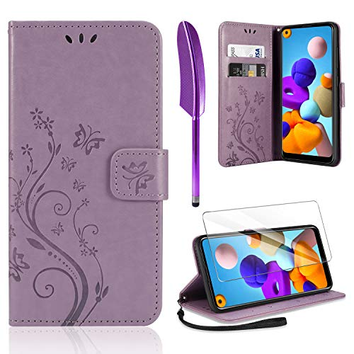 AROYI Coque Samsung Galaxy A21s, Retro Design PU Etui Housse en Cuir Portefeuille de Protection [Fonction Stand Video] [Porte Carte Credit Ticket] Flip Case pour Samsung Galaxy A21s (Purple)
