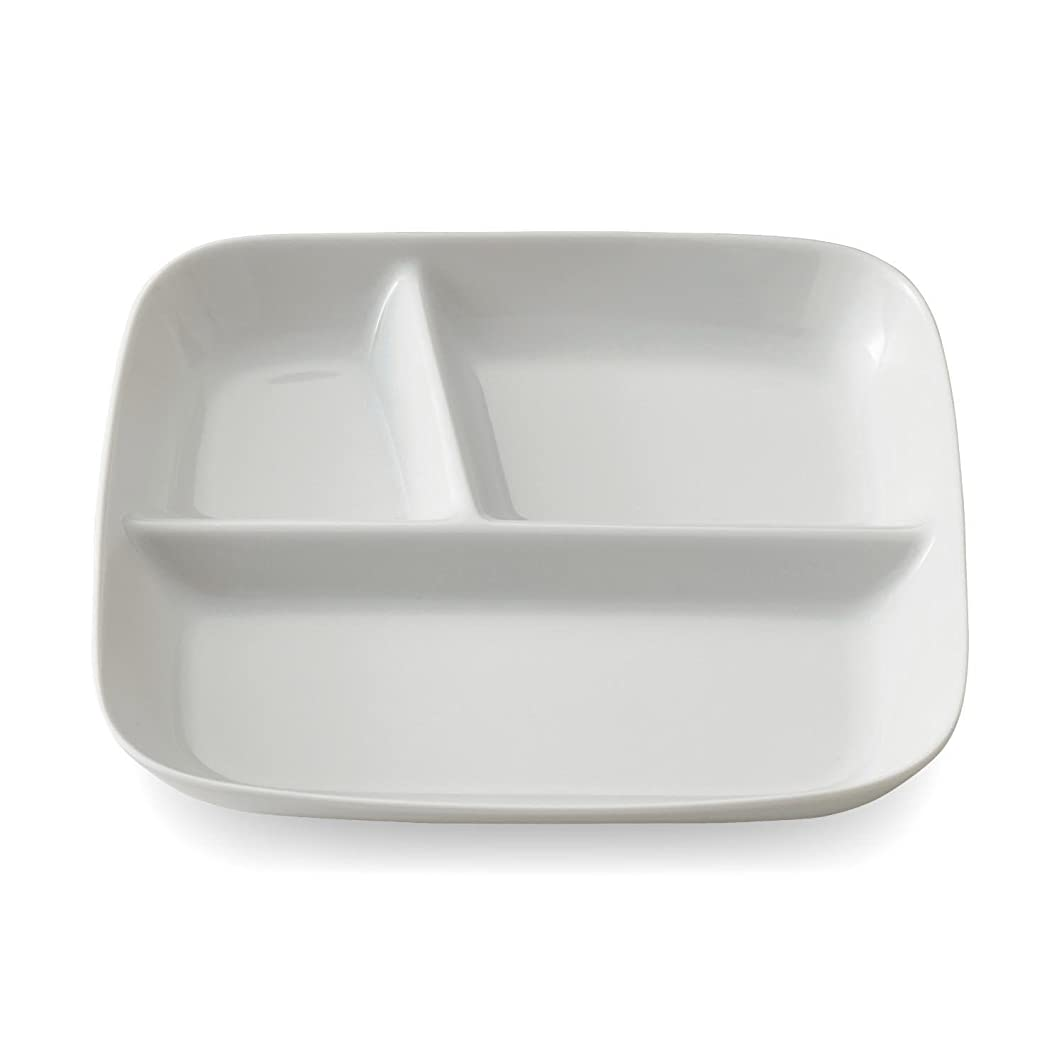 引き受ける陸軍有名[ベルメゾン] ランチ プレート 深め すくいやすい 仕切皿 美濃焼 食洗機対応 日本製 ホワイト