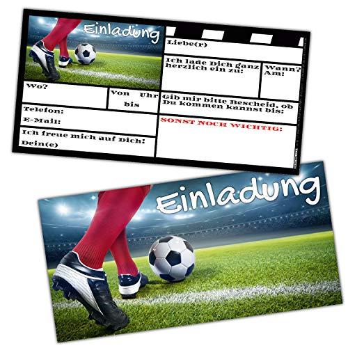 12 Fussball Einladungskarten im Set zum Kinder-Geburtstag oder Fußball-Party - Einladungen für Jungen Mädchen Teenager & Erwachsene von BREITENWERK