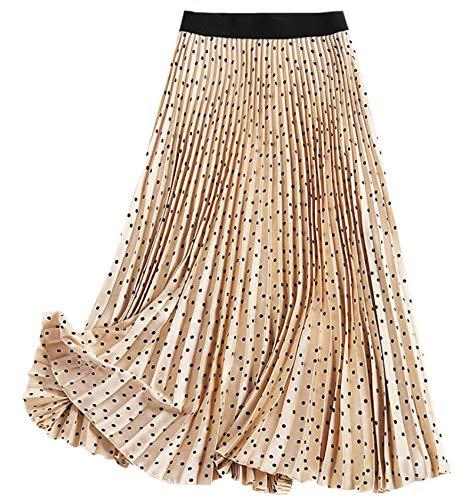 WZXHNYYZYQ Falda Plisada con Estampado De Lunares Falda De Una LíNea De Cintura EláStica Falda Media De Mujer Falda De Media Longitud