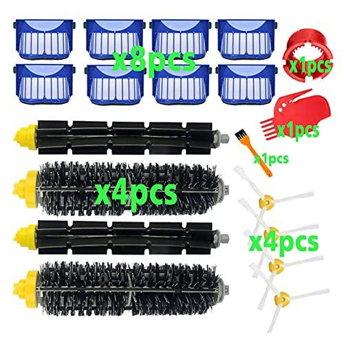 CML Kit de Piezas de Repuesto Ajuste para IROBOT Roomba 600 Series 610 620 625 630 650 660 Cepillo de cerdas de batidor de vacío + Filtro Aero Vac + Cepillo Lateral (Color : 19pcs)
