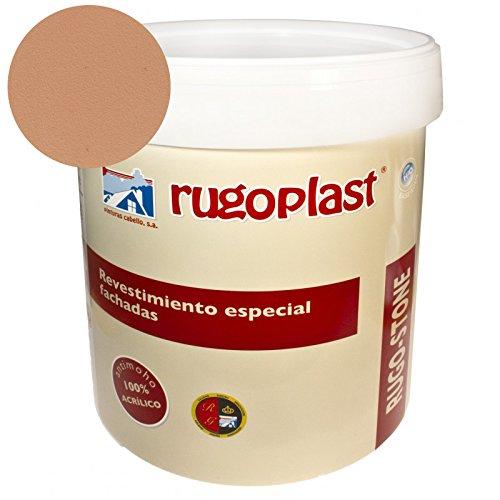 Pintura revestimiento especial fachadas Rugo Stone Colores ideal para dar un toque de color a las paredes exteriores de tu casa (15L, Melocotón) Envío GRATIS 24 h.
