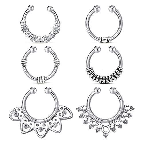 QWALIT Fake Nose Septum Rings Nose Rings Hoop Non-Pierced Clip On Cartilage Tragus Helix Lobe Earrings 14G Surgical Steel Adjustable Horseshoe Circular Barbell Faux Septum Jewelry 6pcs