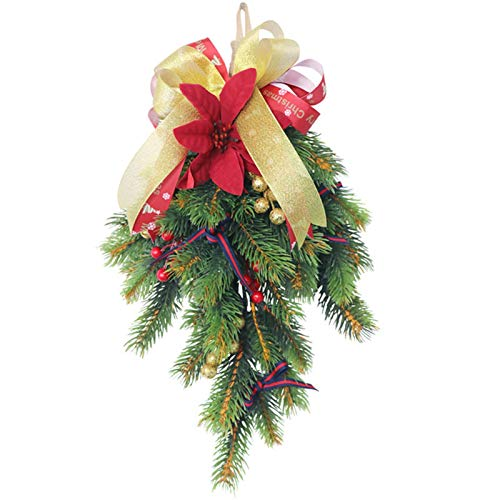 ishine Árbol de Navidad decorativo de pino, árbol de Navidad, hecho a mano, para puerta delantera, pared, ventana, decoración del hogar