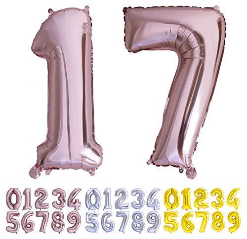 Globo numero 17 o 71 Oro Rosa. Globos Foil Gigante números 1 7 fiestas cumpleaños decoración fiesta aniversario boda tamaño grande 70 cm con accesorio para inflar aire o helio (17/71 Oro Rosa)