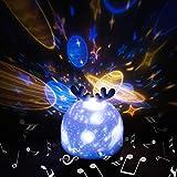 Lampada Proiettore Bambini,Hepside Proiettore Stelle Soffitto Musicale 360°Rotazione Lampada Notturna per Bambini con Telecomando Lampada Magica 5 Modalità Luce Notturna per Neonati,Compleanno,Natale