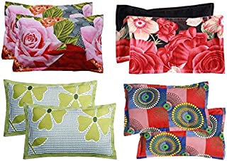 KIHOME Beautiful Microfiber Printed Pillow Cover Set of 4- Multi Color