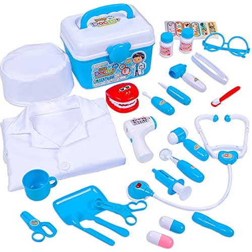 Phobby Doctor Kit for Kids - 27Pcs Pretend Play Kids Doctor Kit with Stethoscope and Doctor Costume for Kids, Educational Dentist Medical Kit for Boys and Girls (Include Medical Storage Case)