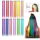 Kyerivs Extensiones de Pelo con Clip Destacadas de Fiesta Coloridas, 50 cm, resistente al calor, recto, extensiones de cabello cospaly, fiesta de moda, para niños y niñas, 12 colores en 24 piezas
