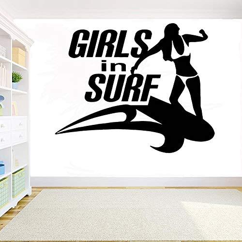 wZUN Calcomanía de Pared de Surf para niña, Mural artístico para habitación de niña, Adhesivo de Vinilo extraíble, decoración del hogar, 52X42cm