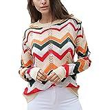 Jerséis elásticos cálidos para Mujer Suéteres de arcoíris, Jersey de Punto de Manga Larga Suéteres de Rowan de Cuello Redondo de Elasticidad