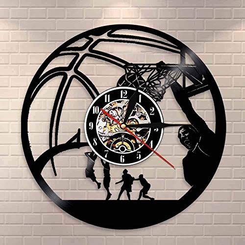 YDDLIE Jugador de Baloncesto Reloj de Mermelada con una Sola Mano Disco de Vinilo Retro Reloj de Pared Baloncesto Saltar Tiro Deportes decoración