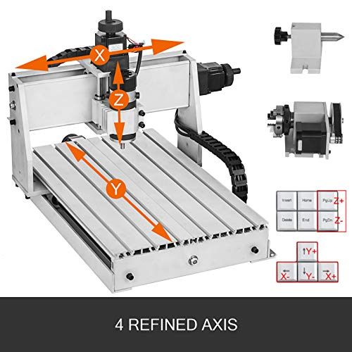 VEVOR CNC Machine 4 Axis CNC Router 3040 CNC Router Engraver Machine 500W CNC Router Engraving Drilling Milling Machine MACH3 with Usb Port for DIY Artwork Cutter 4 Axis,3040,500W