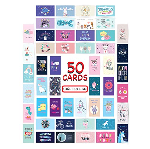 Lunch Box Cards Pack of 50 individual fun love notes for kids 2' x 3.5' (Girl Edition)