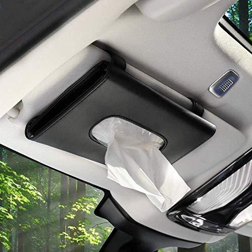 SEMBEM - Soporte para pañuelos de coche, funda para servilletas de coche, clip para toalla de papel, caja de pañuelos de piel sintética, cartón de papel, toallero de papel, color negro