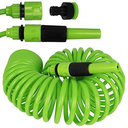 Edco Kinzo Gartenschlauch Spirale 10m - Schlauch - Wasserschlauch mit Farbauswahl (grün)