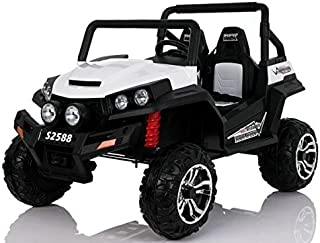 Dorsa Original Buggy POLARIS RANGER Biggest Ride on Car two seater with Rubber Tyres and Leather Seats White