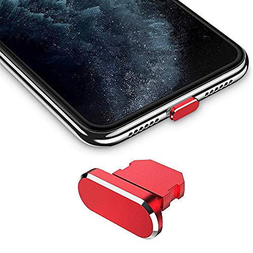 Best Shopper - Metal Stopper Anti Dust Plug Charging Port Cap for All iPhone X XR XS Max 8+ 7 6S+ 11 12 Pro Max iPhones Only - Red