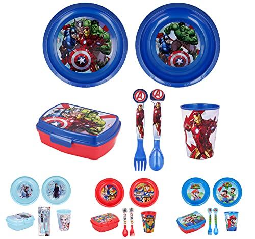 Vajilla infantil de 6 piezas de Avengers/Los vengadores para niños y niñas. Contiene plato, vaso, tenedor, cuchillo, cuenco y sandwichera (Avengers/Los vengadores - 6pcs)