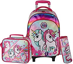 Kids Rolling Backpack for Girls Backpack with Wheels Backpack for Girls for School with Lunch Box Unicorn Reversible Sequin School Bags (3 Patterns Unicorn Rolling Backpack)