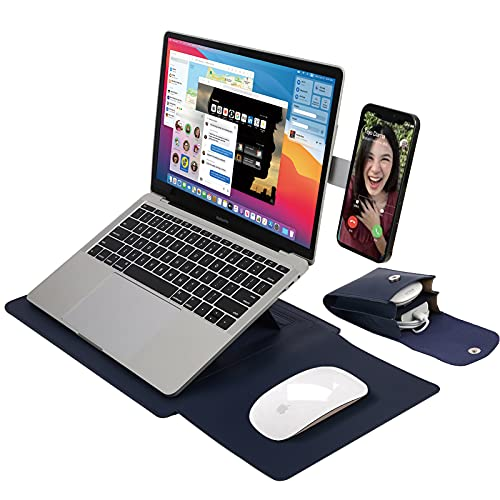13.3' Laptop Sleeve with Stand, Mouse Pad, Phone Side Mount, Cable Organizer. Complete Set for Healthy, Comfortable Viewing Angle, Office, Travel. Easy DIY Install (Nave Blue)