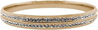 Bevilles Yellow Stainless Steel Pave Crystal Bangle