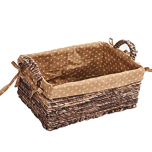 HQBL Wicker Bread Basket with Cotton Linen Lining,Traditional Rectangle Picnic Basket with Double Handles | Organizer Blanket Storage| Bath Toy and Kids Toy Storage