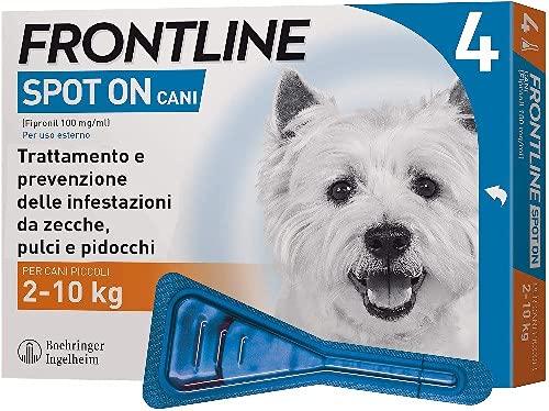 Frontline Spot On, 4 Pipette, Cane Taglia S (2 - 10 Kg), Antiparassitario per Cani e Cuccioli di Lunga Durata, Protegge da Zecche, Pulci e Pidocchi, Antipulci In Confezione da 4 Pipette