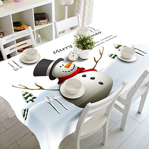 XXDD Decoración del hogar Mantel 3D Lindo patrón de Tema de muñeco de Nieve algodón Lavable y Mantel Redondo de año Nuevo A10 135x200cm