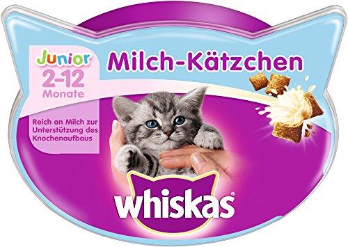 Whiskas Junior Knusper-Taschen Milch-Kätzchen, 8 Packungen (8 x 55 g)