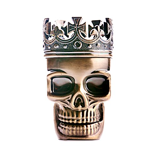 3 Piece Cool Skull Metal Spice Grinder, 3 Inch Small Pocket Herb Grinder Tool with Compact Sharp Teeth, Durable and Useful Easy to Clean