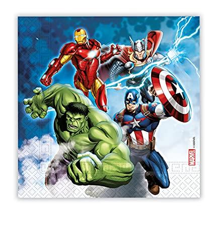 Procos- Tovaglioli Carta FSC compostabili Marvel Avengers Fight (33x33cm, Triplo Velo), 20 Pezzi The, Multicolore, Taglia Unica, 10201204