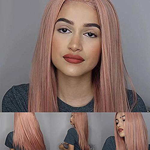 Perruque perruque longue ligne droite rose nue