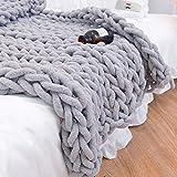 Manta de punto de lana de punto grueso, muy grande, tejida a mano, para mascotas, cama, silla, sofá (gris claro, 120 x 150 cm)