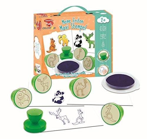 Joustra 41925 Keine Meine ersten 6 Maxi Stempel, 1 blauses Stempelkissen, 1 Heft-ergonomischer Griff, auswaschbar, bunt