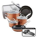 Farberware Kochgeschirr-Set mit Antihaftbeschichtung, Aluminium, Copper Shine, L