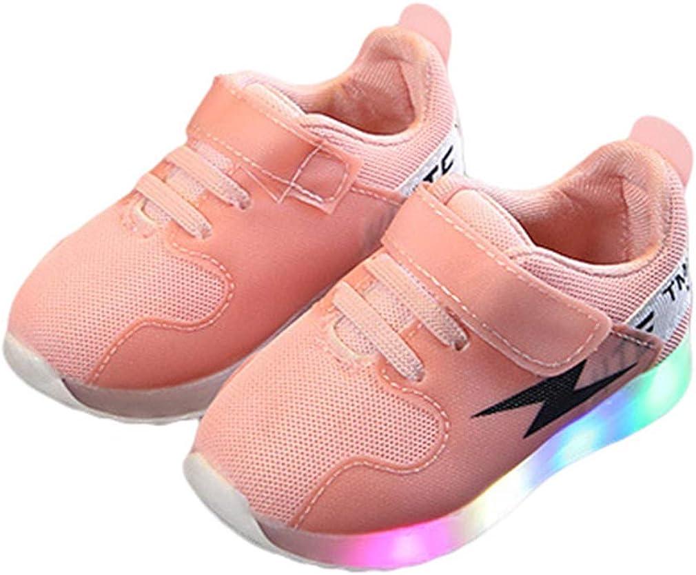 Niños Niñas Zapatos Led Luminioso Zapatos Deportivos Bajo-Top Velcro Sneakers Neto Respirable Zapatillas Antideslizante Zapatos Planos Casual Zapatos con Luces