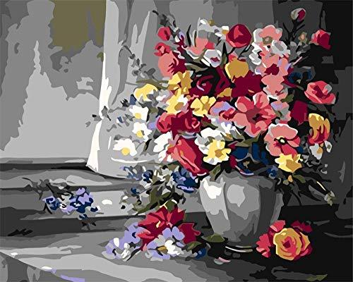 GenericBrands Kits de Pintura por números, Colorido Kit de Pintura al óleo de Lienzo Flowersdiy para niños, Adultos y Principiantes, Lienzo de 16 x 20 Pulgadas, sin Marco