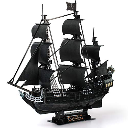professional CubicFun 3D Puzzle Large Pirate Ship 26.6 ″ Complex Water Transport Model Kit 308 Revenge of Queen Anne, Toys for Adults and Teens